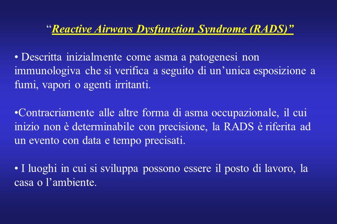 Reactive Airways Dysfunction Syndrome (RADS) Descritta inizialmente come asma a patogenesi non immunologiva che si verifica a seguito di ununica espos