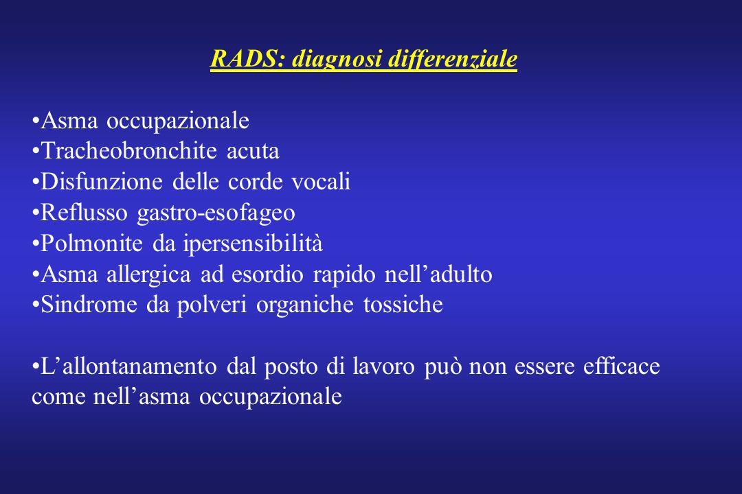 RADS: diagnosi differenziale Asma occupazionale Tracheobronchite acuta Disfunzione delle corde vocali Reflusso gastro-esofageo Polmonite da ipersensib