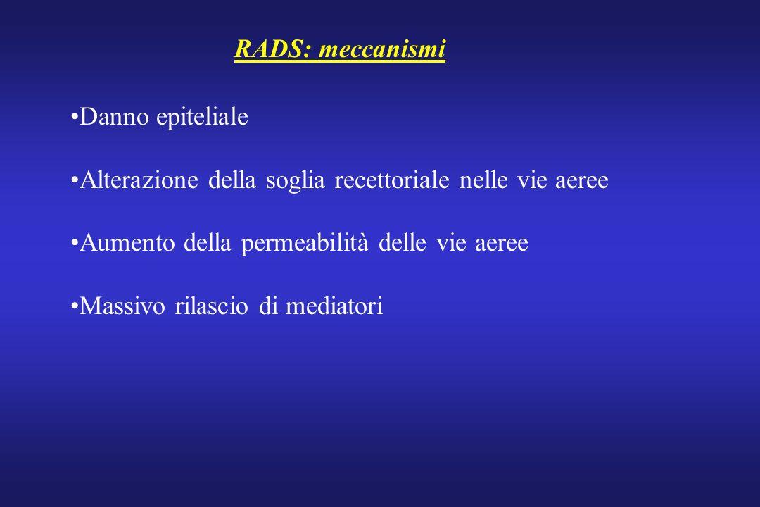 RADS: meccanismi Danno epiteliale Alterazione della soglia recettoriale nelle vie aeree Aumento della permeabilità delle vie aeree Massivo rilascio di