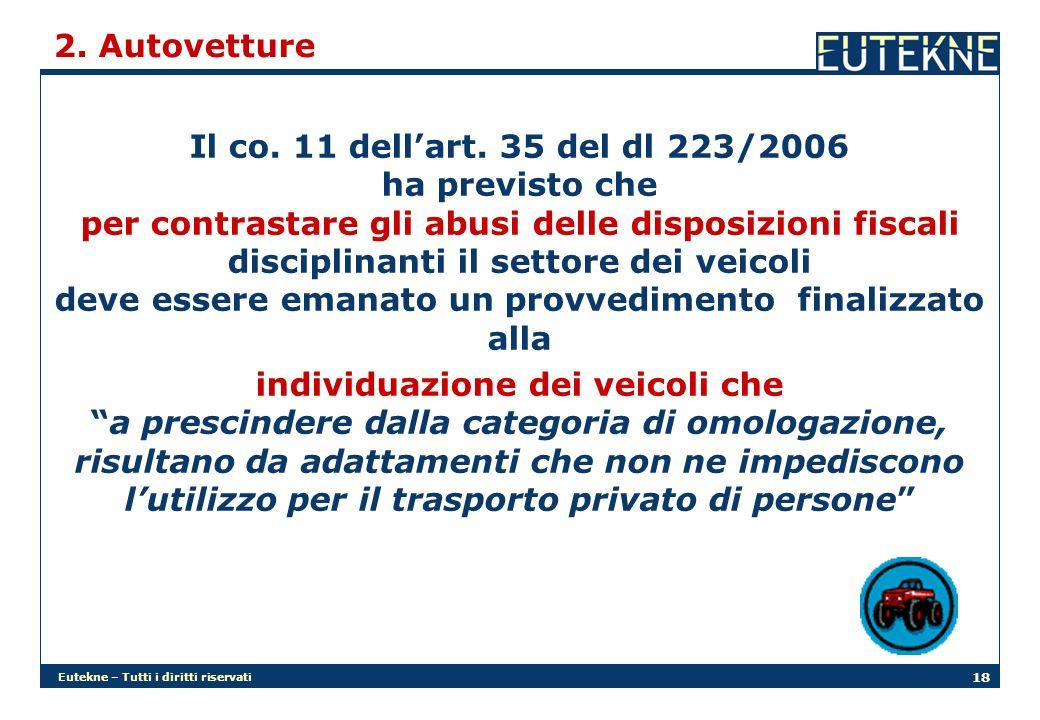 Eutekne – Tutti i diritti riservati 18 2. Autovetture Il co.