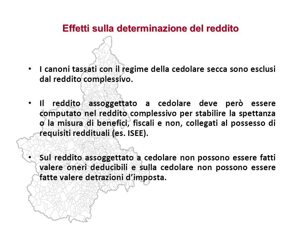 Effetti sulla determinazione del reddito I canoni tassati con il regime della cedolare secca sono esclusi dal reddito complessivo. Il reddito assogget