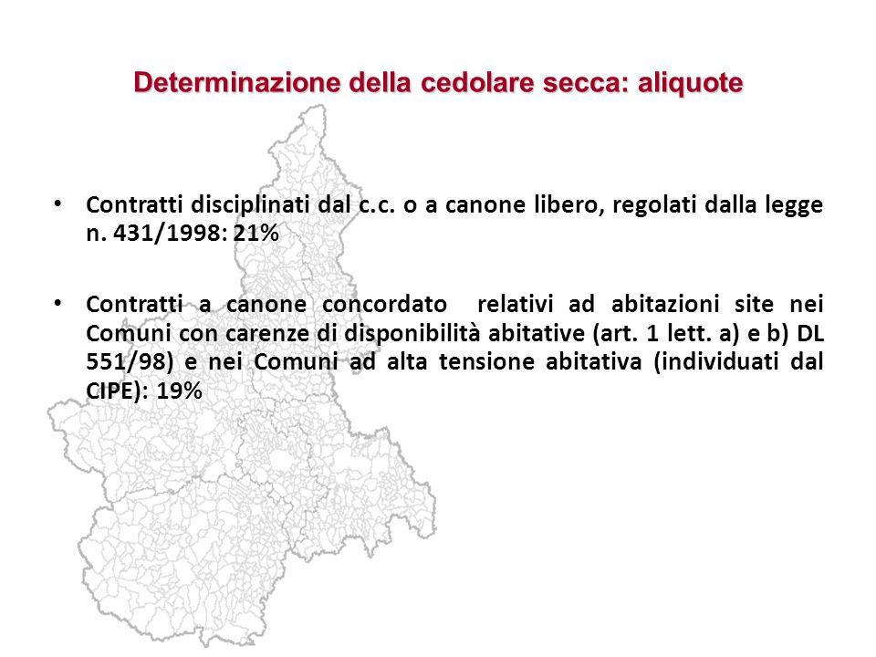 Determinazione della cedolare secca: aliquote Contratti disciplinati dal c.c. o a canone libero, regolati dalla legge n. 431/1998: 21% Contratti a can