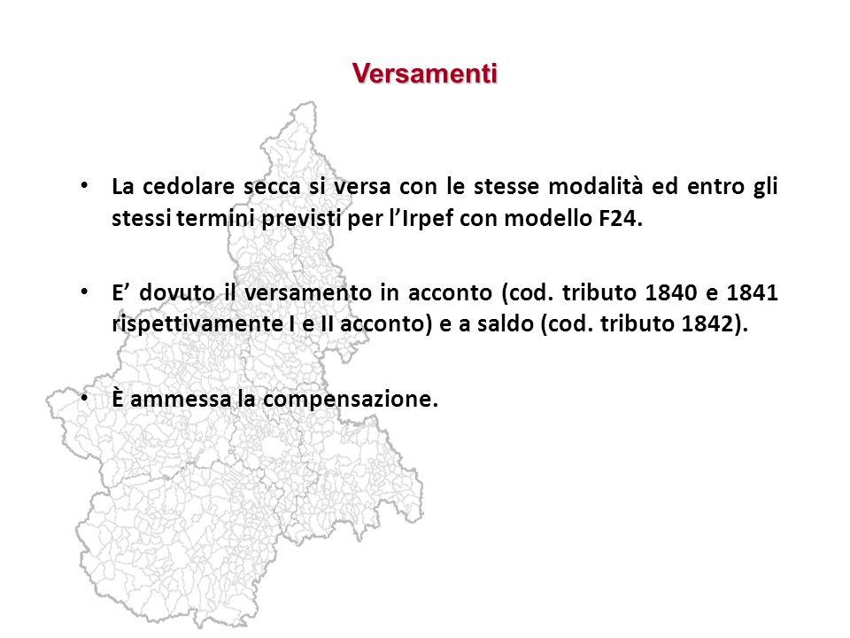 Versamenti La cedolare secca si versa con le stesse modalità ed entro gli stessi termini previsti per lIrpef con modello F24. E dovuto il versamento i