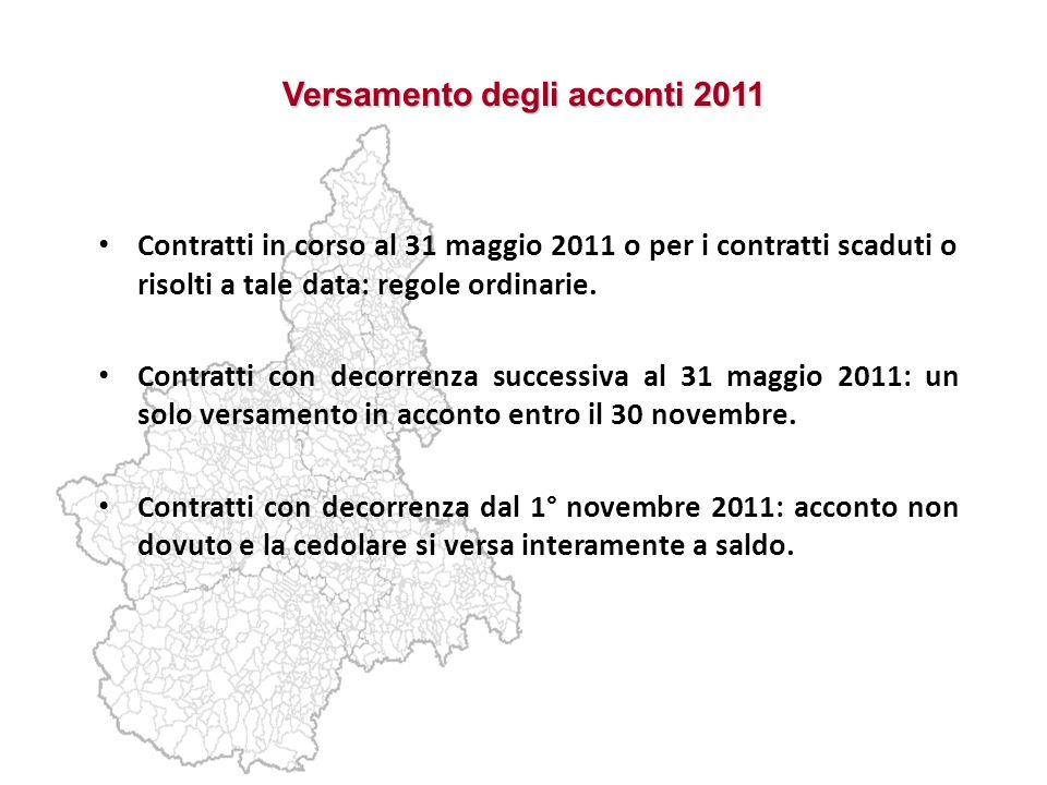 Versamento degli acconti 2011 Contratti in corso al 31 maggio 2011 o per i contratti scaduti o risolti a tale data: regole ordinarie. Contratti con de