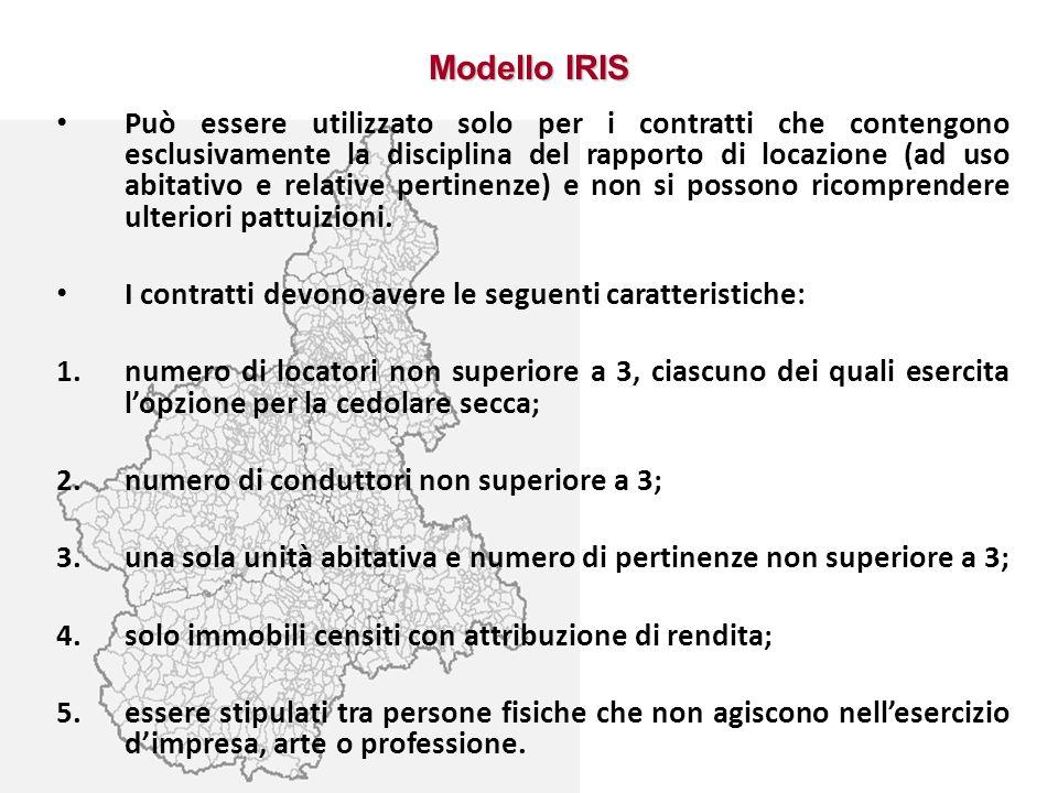 Modello IRIS Può essere utilizzato solo per i contratti che contengono esclusivamente la disciplina del rapporto di locazione (ad uso abitativo e rela
