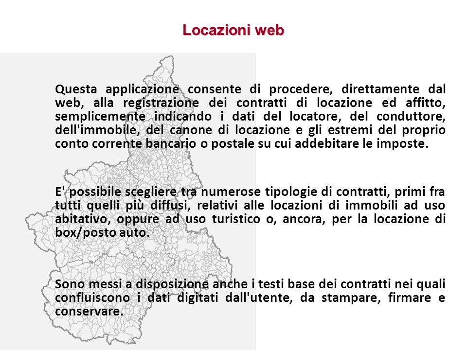 Locazioni web Questa applicazione consente di procedere, direttamente dal web, alla registrazione dei contratti di locazione ed affitto, semplicemente