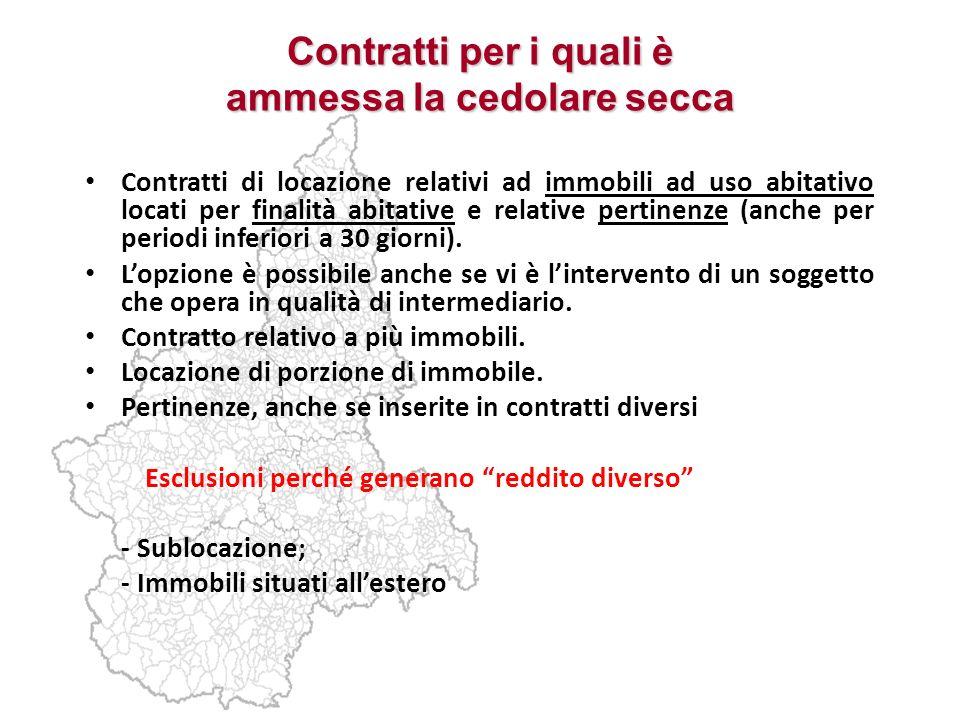 Contratti per i quali è ammessa la cedolare secca Contratti di locazione relativi ad immobili ad uso abitativo locati per finalità abitative e relativ