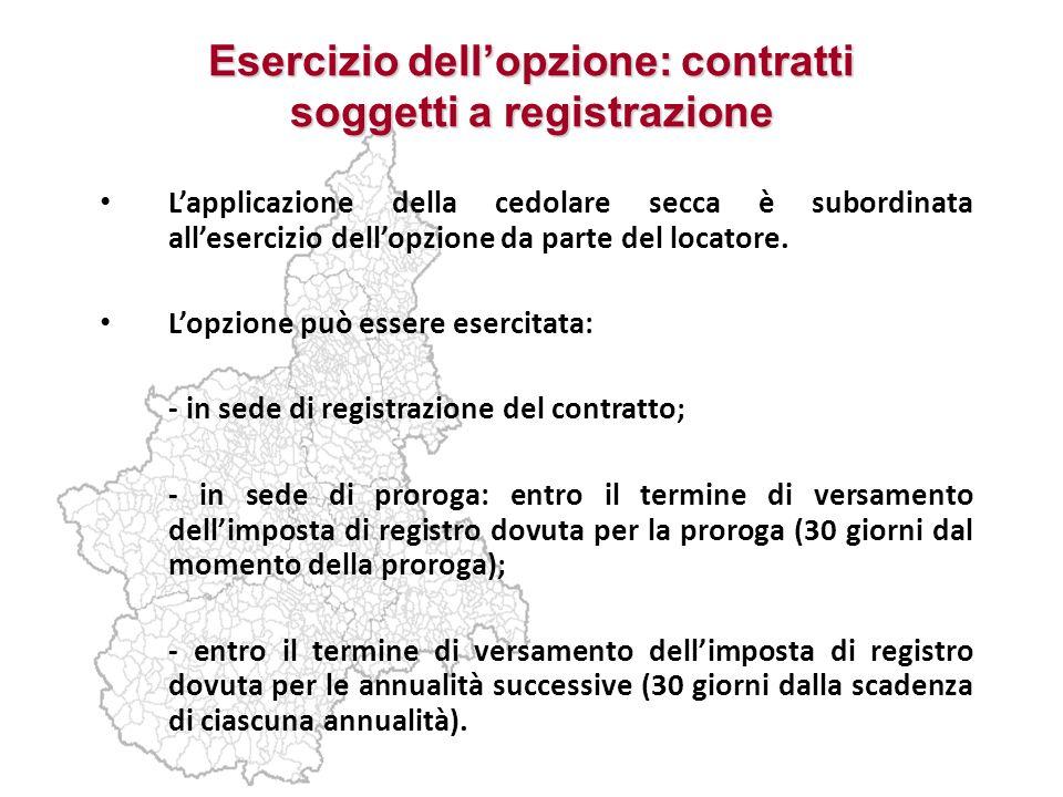 Esercizio dellopzione: contratti soggetti a registrazione Lapplicazione della cedolare secca è subordinata allesercizio dellopzione da parte del locat
