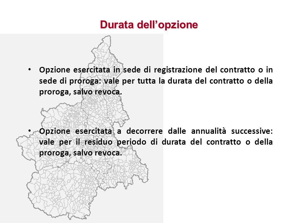 Durata dellopzione Opzione esercitata in sede di registrazione del contratto o in sede di proroga: vale per tutta la durata del contratto o della pror