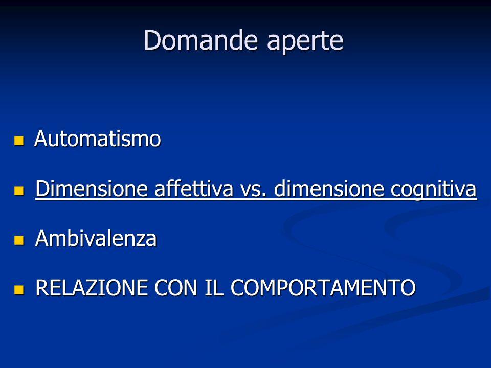 Domande aperte Automatismo Automatismo Dimensione affettiva vs. dimensione cognitiva Dimensione affettiva vs. dimensione cognitiva Ambivalenza Ambival