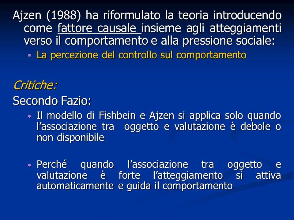 Ajzen (1988) ha riformulato la teoria introducendo come fattore causale insieme agli atteggiamenti verso il comportamento e alla pressione sociale: La