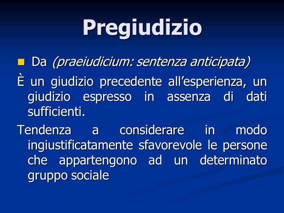 Pregiudizio Da (praeiudicium: sentenza anticipata) Da (praeiudicium: sentenza anticipata) È un giudizio precedente allesperienza, un giudizio espresso