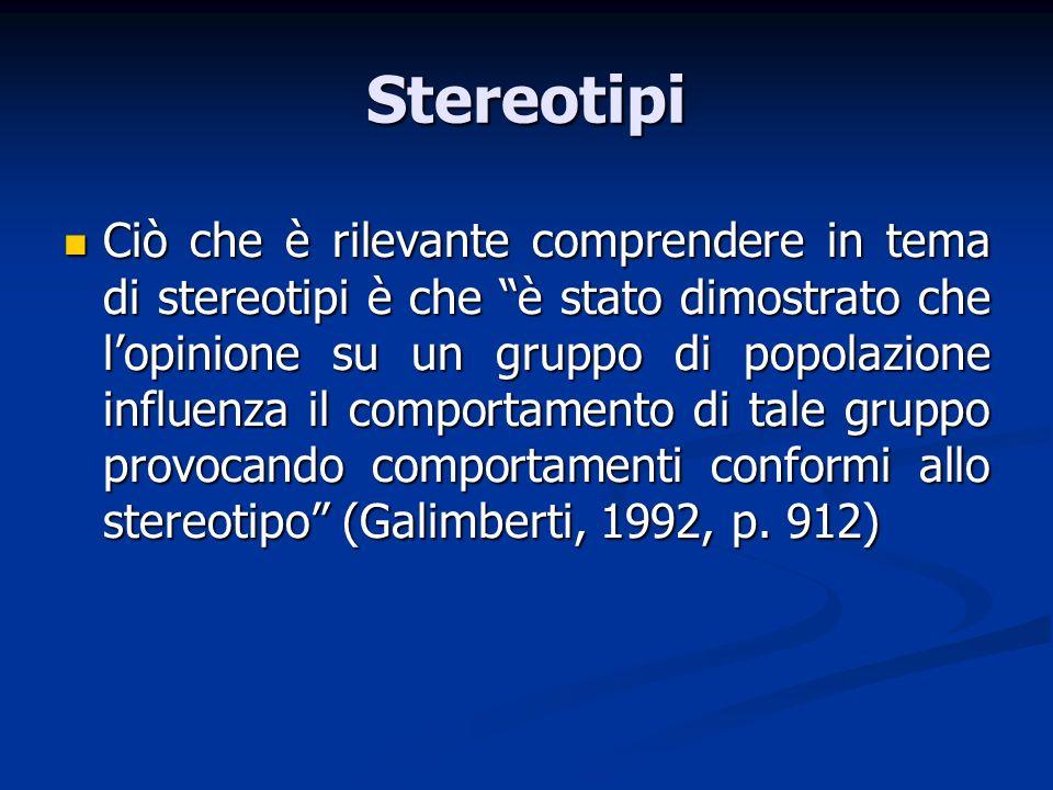Stereotipi Ciò che è rilevante comprendere in tema di stereotipi è che è stato dimostrato che lopinione su un gruppo di popolazione influenza il compo