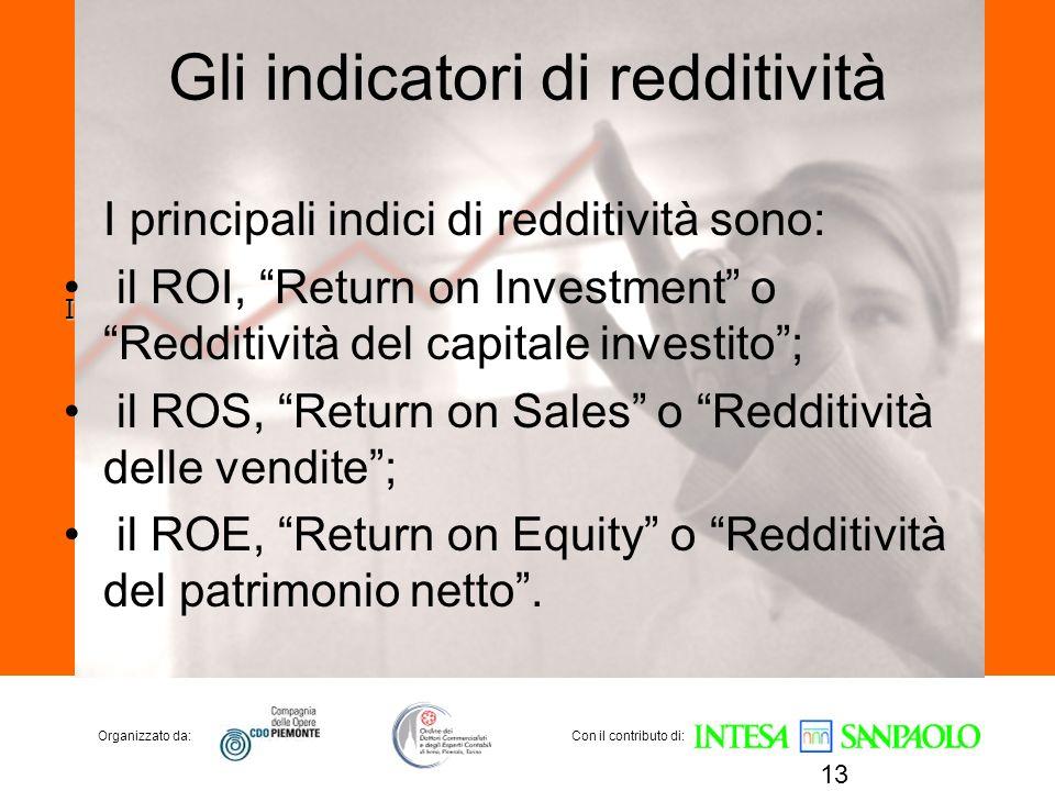 Organizzato da:Con il contributo di: Gli indicatori di redditività I principali indici di redditività sono: il ROI, Return on Investment o Redditività