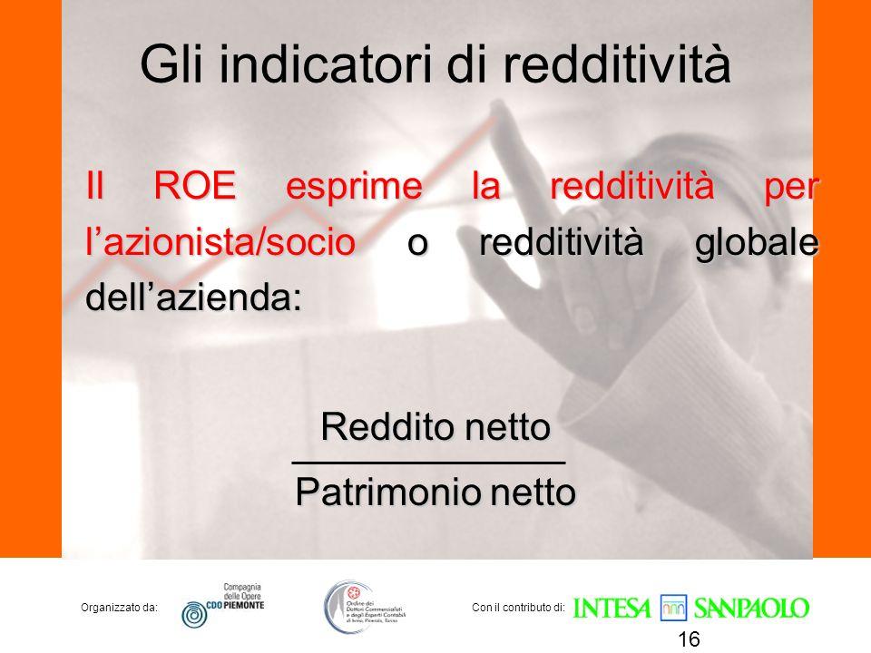 Organizzato da:Con il contributo di: Gli indicatori di redditività Il ROE esprime la redditività per lazionista/socio o redditività globale dellaziend