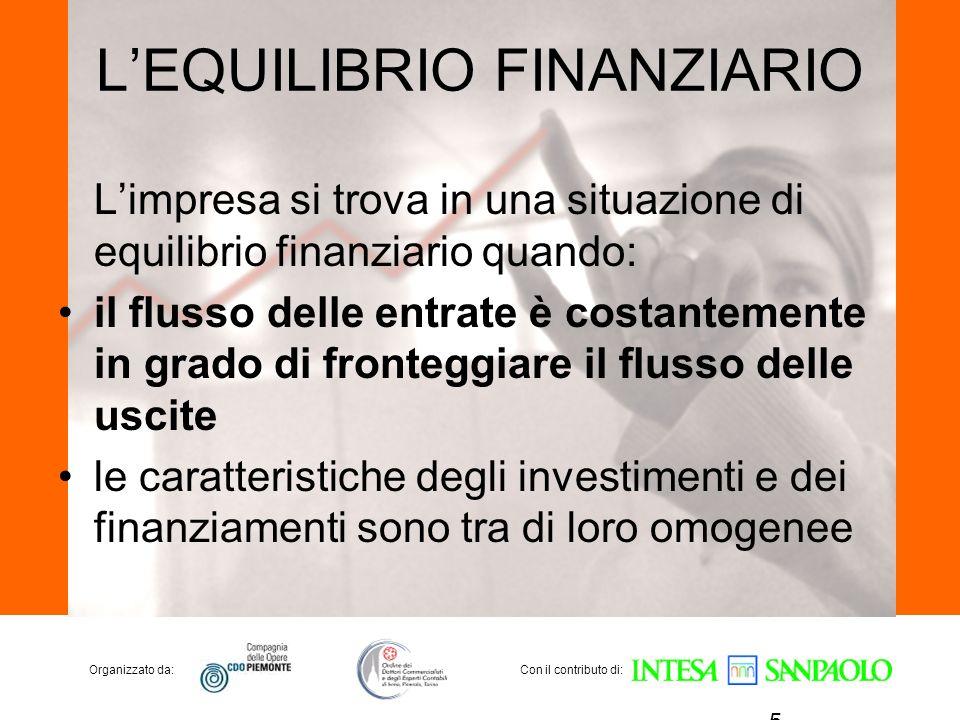 Organizzato da:Con il contributo di: LEQUILIBRIO FINANZIARIO Limpresa si trova in una situazione di equilibrio finanziario quando: il flusso delle ent