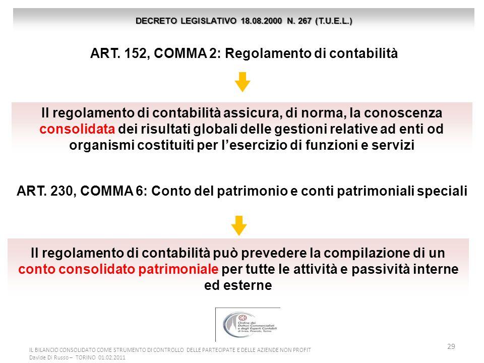 29 ART. 152, COMMA 2: Regolamento di contabilità DECRETO LEGISLATIVO 18.08.2000 N. 267 (T.U.E.L.) Il regolamento di contabilità assicura, di norma, la