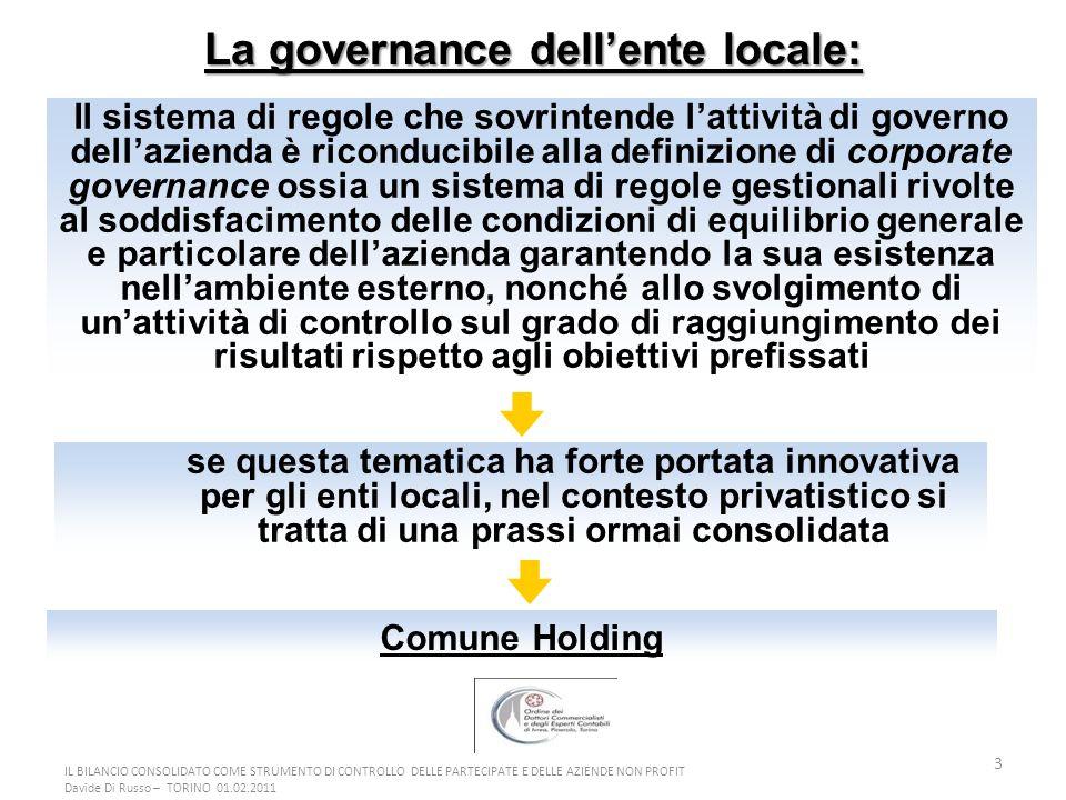 3 La governance dellente locale: se questa tematica ha forte portata innovativa per gli enti locali, nel contesto privatistico si tratta di una prassi