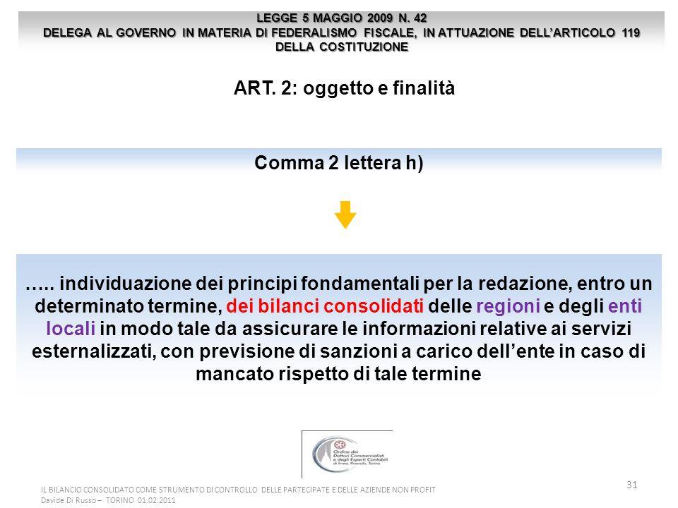 31 ART. 2: oggetto e finalità LEGGE 5 MAGGIO 2009 N. 42 DELEGA AL GOVERNO IN MATERIA DI FEDERALISMO FISCALE, IN ATTUAZIONE DELLARTICOLO 119 DELLA COST
