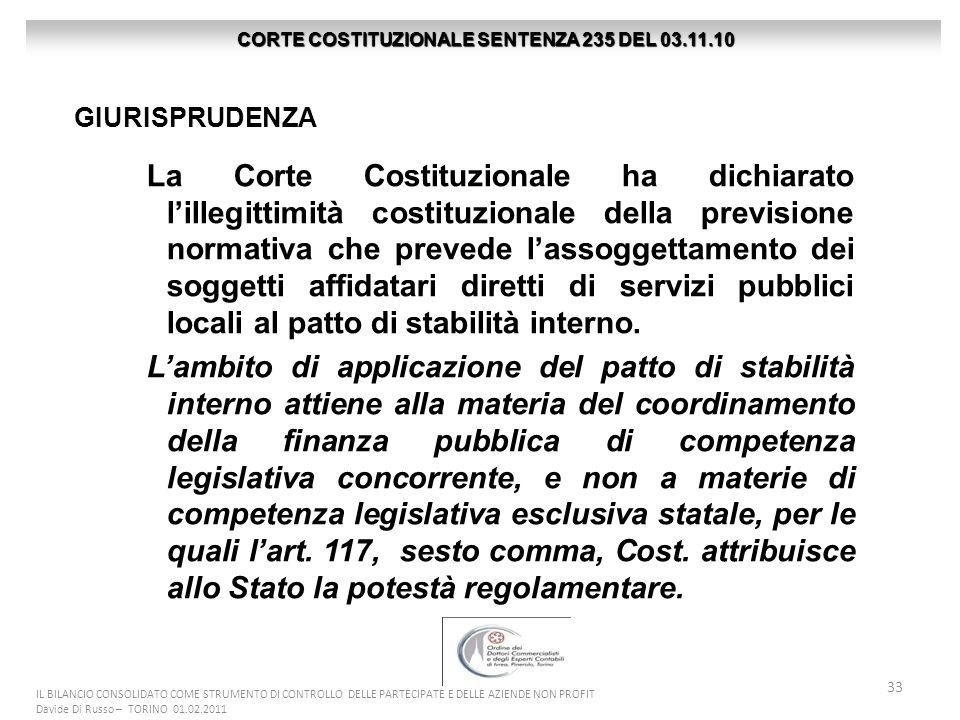 33 IL BILANCIO CONSOLIDATO COME STRUMENTO DI CONTROLLO DELLE PARTECIPATE E DELLE AZIENDE NON PROFIT Davide Di Russo – TORINO 01.02.2011 La Corte Costi
