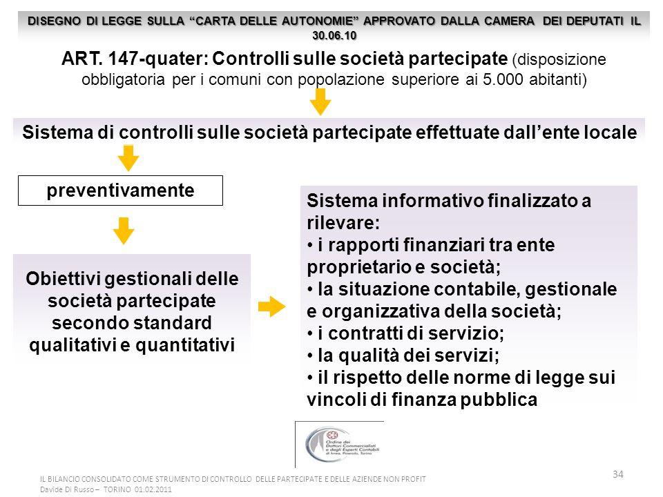 34 ART. 147-quater: Controlli sulle società partecipate (disposizione obbligatoria per i comuni con popolazione superiore ai 5.000 abitanti) Obiettivi