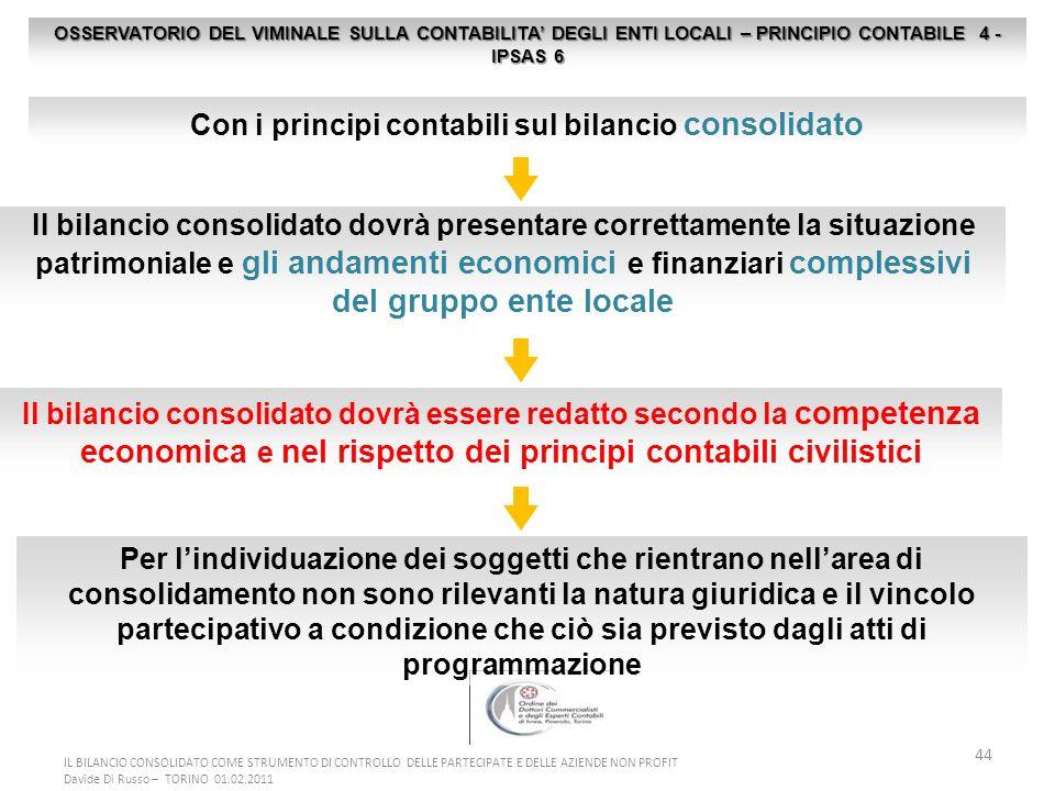 44 II bilancio consolidato dovrà presentare correttamente la situazione patrimoniale e gli andamenti economici e finanziari complessivi del gruppo ent