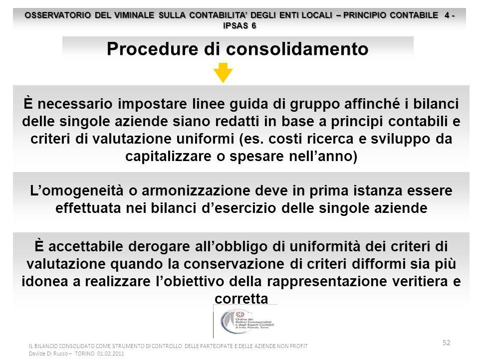 52 OSSERVATORIO DEL VIMINALE SULLA CONTABILITA DEGLI ENTI LOCALI – PRINCIPIO CONTABILE 4 - IPSAS 6 Procedure di consolidamento È necessario impostare