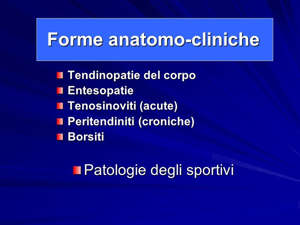 Forme anatomo-cliniche Tendinopatie del corpo Entesopatie Tenosinoviti (acute) Peritendiniti (croniche) Borsiti Patologie degli sportivi