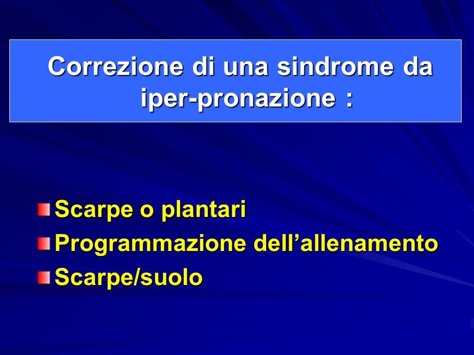 Correzione di una sindrome da iper-pronazione : Correzione di una sindrome da iper-pronazione : Scarpe o plantari Programmazione dellallenamento Scarp