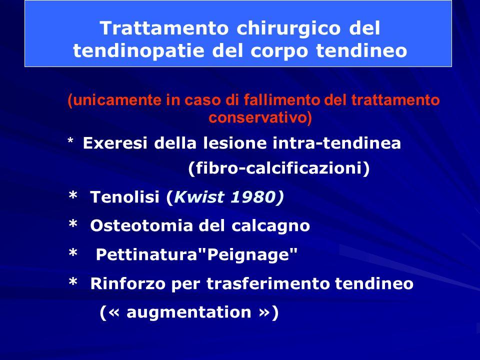 (unicamente in caso di fallimento del trattamento conservativo) * Exeresi della lesione intra-tendinea (fibro-calcificazioni) * Tenolisi (Kwist 1980)