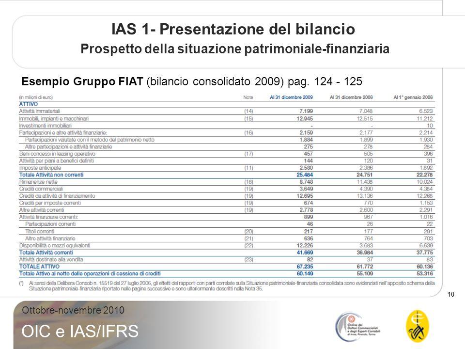 10 Ottobre-novembre 2010 OIC e IAS/IFRS IAS 1- Presentazione del bilancio Prospetto della situazione patrimoniale-finanziaria Esempio Gruppo FIAT (bilancio consolidato 2009) pag.