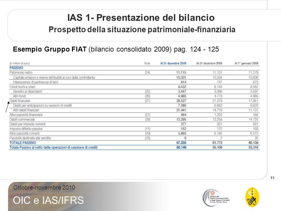 11 Ottobre-novembre 2010 OIC e IAS/IFRS IAS 1- Presentazione del bilancio Prospetto della situazione patrimoniale-finanziaria Esempio Gruppo FIAT (bilancio consolidato 2009) pag.