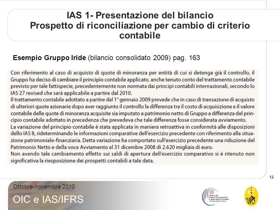 12 Ottobre-novembre 2010 OIC e IAS/IFRS IAS 1- Presentazione del bilancio Prospetto di riconciliazione per cambio di criterio contabile Esempio Gruppo Iride (bilancio consolidato 2009) pag.