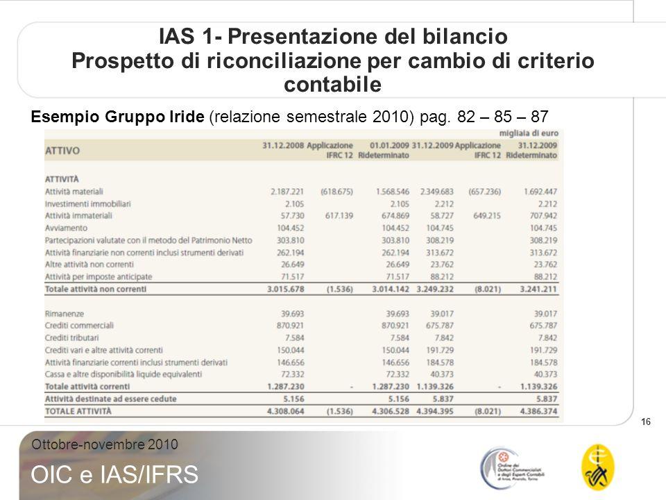 16 Ottobre-novembre 2010 OIC e IAS/IFRS IAS 1- Presentazione del bilancio Prospetto di riconciliazione per cambio di criterio contabile Esempio Gruppo Iride (relazione semestrale 2010) pag.