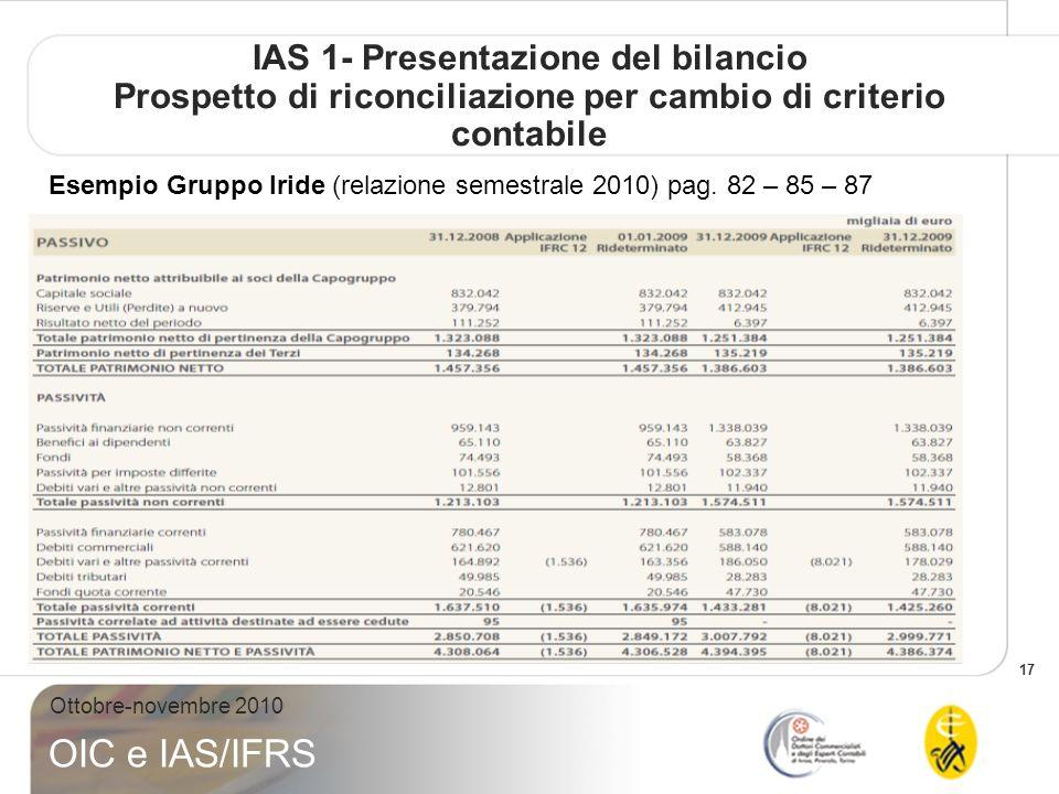 17 Ottobre-novembre 2010 OIC e IAS/IFRS IAS 1- Presentazione del bilancio Prospetto di riconciliazione per cambio di criterio contabile Esempio Gruppo Iride (relazione semestrale 2010) pag.