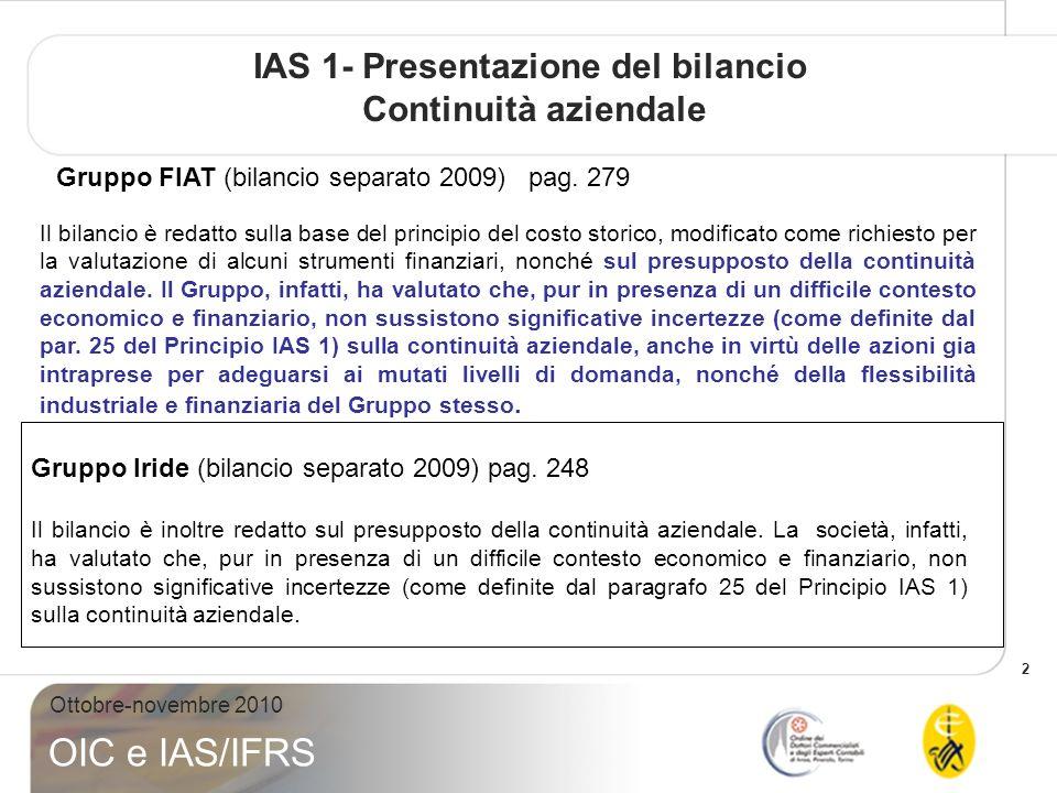 33 Ottobre-novembre 2010 OIC e IAS/IFRS Esempio Gruppo Iride (bilancio consolidato 2009) pag.
