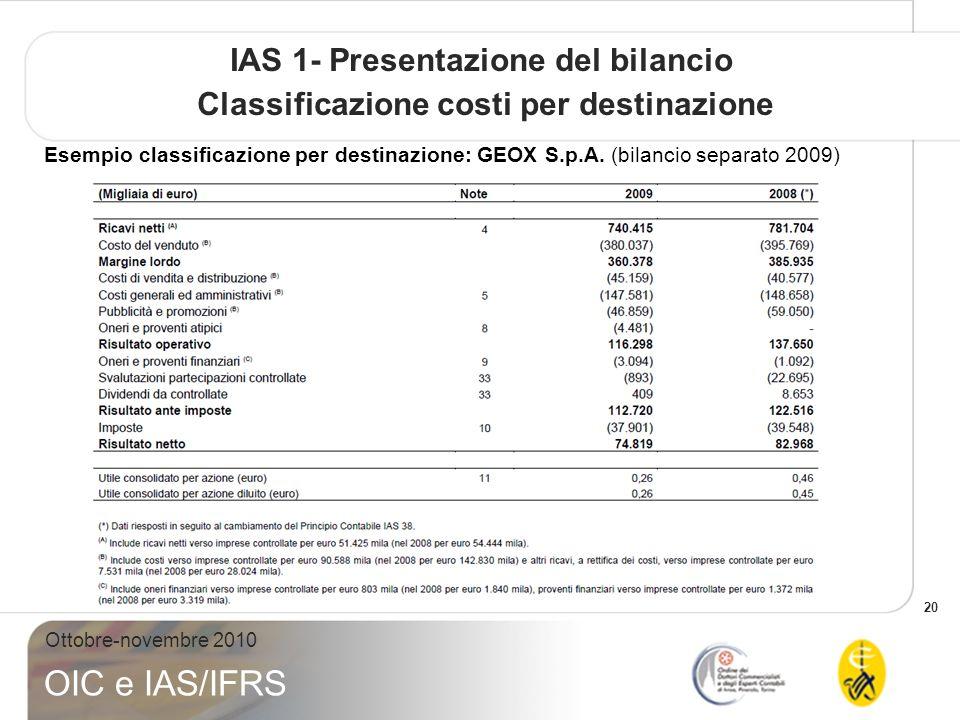 20 Ottobre-novembre 2010 OIC e IAS/IFRS IAS 1- Presentazione del bilancio Classificazione costi per destinazione Esempio classificazione per destinazione: GEOX S.p.A.