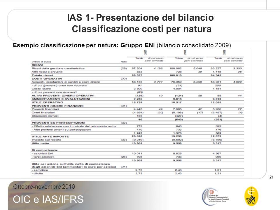 21 Ottobre-novembre 2010 OIC e IAS/IFRS IAS 1- Presentazione del bilancio Classificazione costi per natura Esempio classificazione per natura: Gruppo ENI (bilancio consolidato 2009)