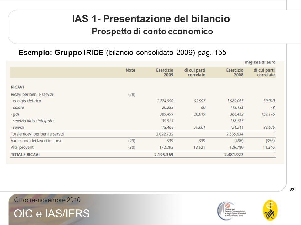 22 Ottobre-novembre 2010 OIC e IAS/IFRS IAS 1- Presentazione del bilancio Prospetto di conto economico Esempio: Gruppo IRIDE (bilancio consolidato 2009) pag.