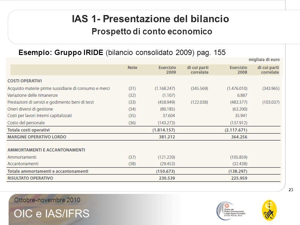 23 Ottobre-novembre 2010 OIC e IAS/IFRS IAS 1- Presentazione del bilancio Prospetto di conto economico Esempio: Gruppo IRIDE (bilancio consolidato 200