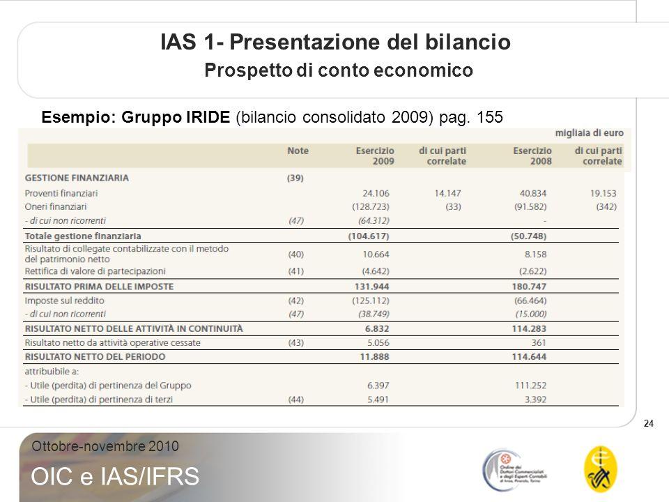 24 Ottobre-novembre 2010 OIC e IAS/IFRS IAS 1- Presentazione del bilancio Prospetto di conto economico Esempio: Gruppo IRIDE (bilancio consolidato 200