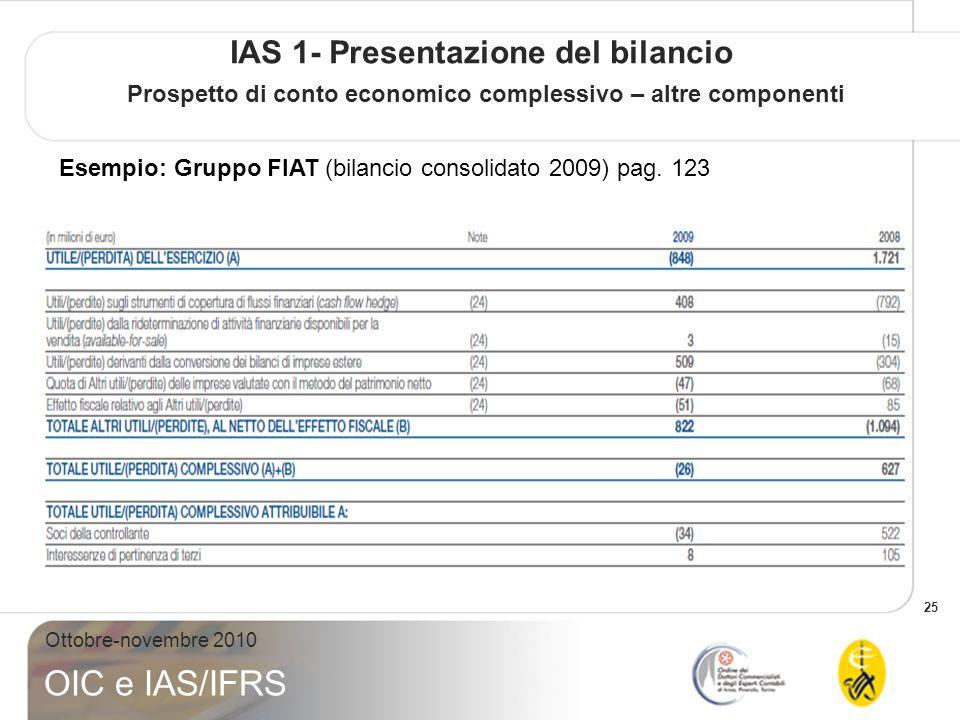 25 Ottobre-novembre 2010 OIC e IAS/IFRS IAS 1- Presentazione del bilancio Prospetto di conto economico complessivo – altre componenti Esempio: Gruppo FIAT (bilancio consolidato 2009) pag.