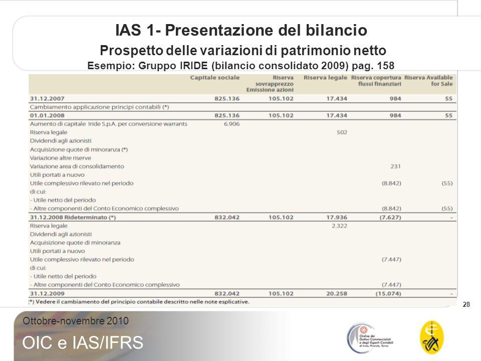 28 Ottobre-novembre 2010 OIC e IAS/IFRS IAS 1- Presentazione del bilancio Prospetto delle variazioni di patrimonio netto Esempio: Gruppo IRIDE (bilanc
