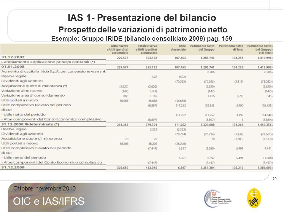 29 Ottobre-novembre 2010 OIC e IAS/IFRS IAS 1- Presentazione del bilancio Prospetto delle variazioni di patrimonio netto Esempio: Gruppo IRIDE (bilancio consolidato 2009) pag.