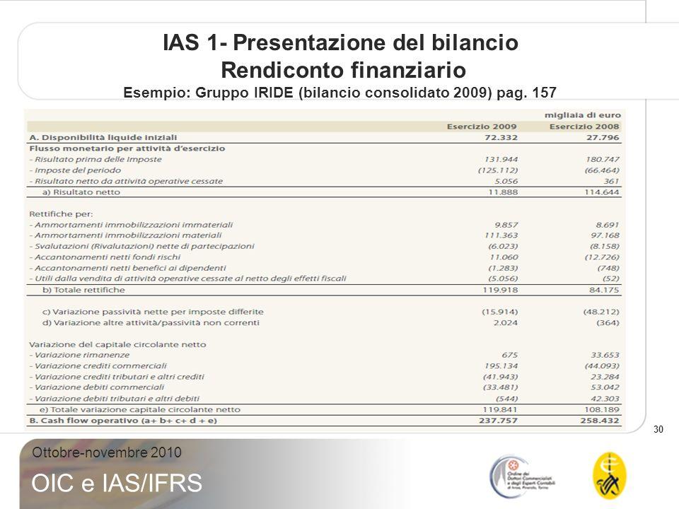30 Ottobre-novembre 2010 OIC e IAS/IFRS IAS 1- Presentazione del bilancio Rendiconto finanziario Esempio: Gruppo IRIDE (bilancio consolidato 2009) pag
