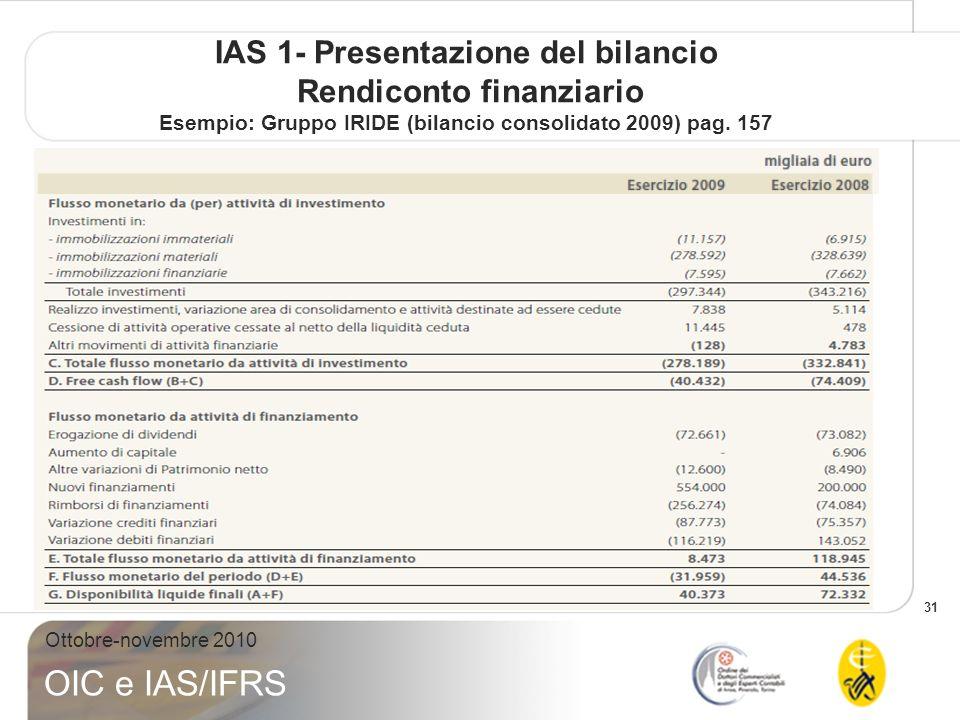 31 Ottobre-novembre 2010 OIC e IAS/IFRS IAS 1- Presentazione del bilancio Rendiconto finanziario Esempio: Gruppo IRIDE (bilancio consolidato 2009) pag.