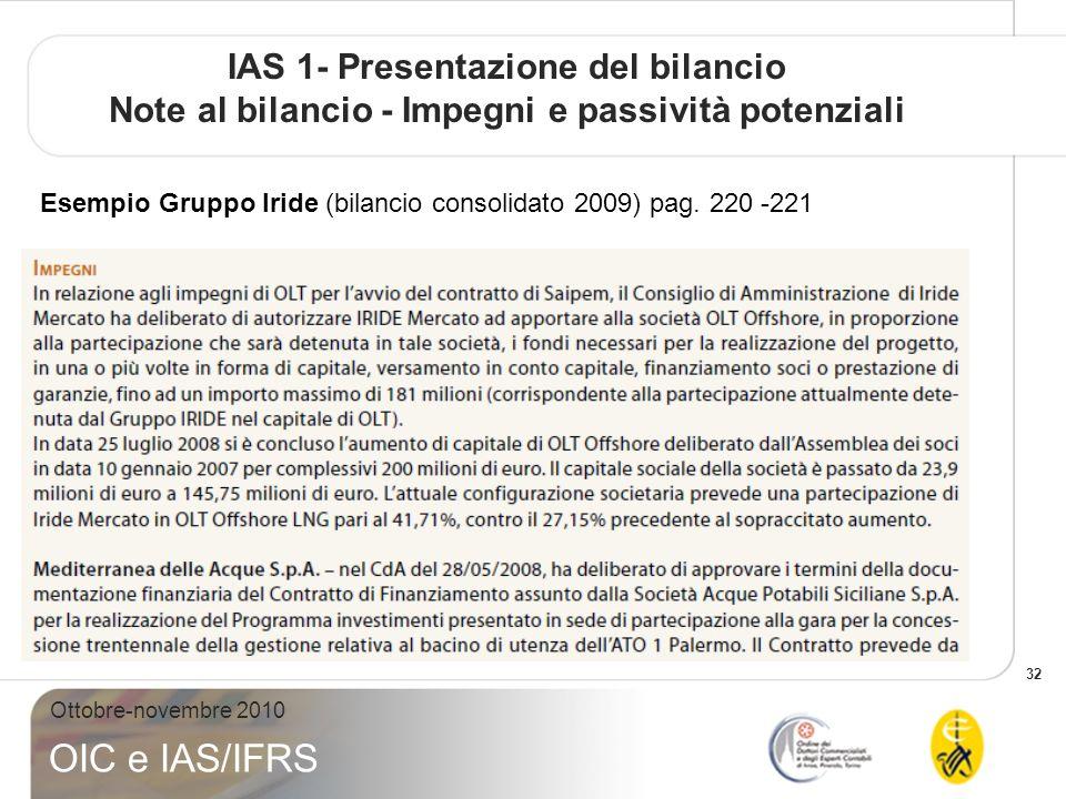 32 Ottobre-novembre 2010 OIC e IAS/IFRS Esempio Gruppo Iride (bilancio consolidato 2009) pag. 220 -221 IAS 1- Presentazione del bilancio Note al bilan
