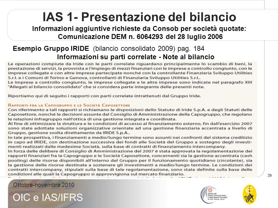 39 Ottobre-novembre 2010 OIC e IAS/IFRS IAS 1- Presentazione del bilancio Informazioni aggiuntive richieste da Consob per società quotate: Comunicazio