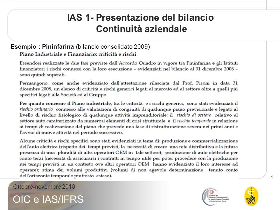 4 Ottobre-novembre 2010 OIC e IAS/IFRS IAS 1- Presentazione del bilancio Continuità aziendale Esempio : Pininfarina (bilancio consolidato 2009)