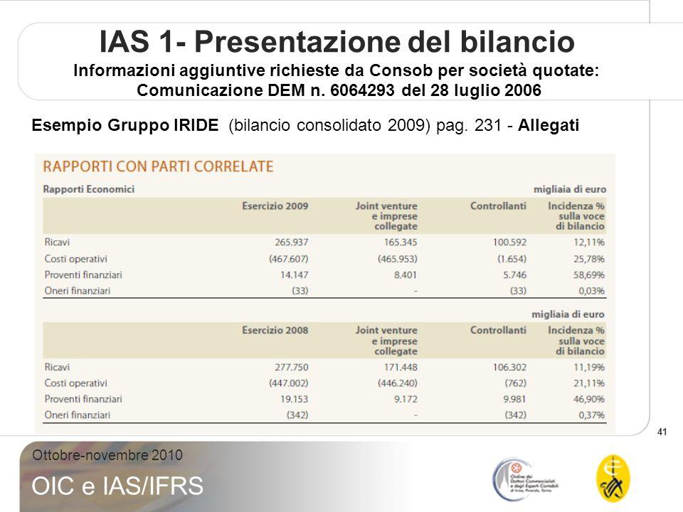 41 Ottobre-novembre 2010 OIC e IAS/IFRS IAS 1- Presentazione del bilancio Informazioni aggiuntive richieste da Consob per società quotate: Comunicazio